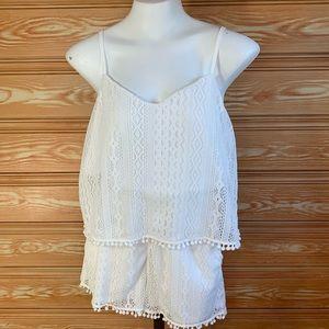 American Rag White Crochet Lace Festival Romper M